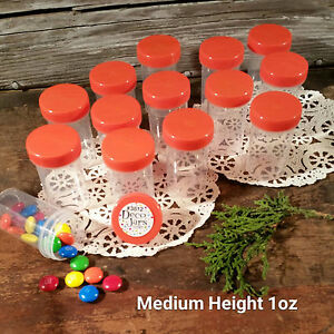 24-Jars-2-034-USA-tall-Screw-on-Orange-Cap-1-ounce-Favor-Size-Container-3812