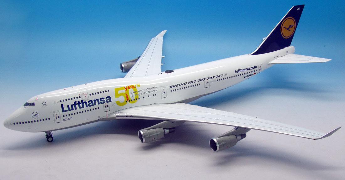 Jfox wbdabvh 1/200 WB-VH BOEING 747-430 LUFTHANSA 50 anni D-abvh con supporto