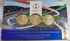 FIFA World Cup 2002 Commemorative Mint Set 3 x 500 Yen Korea Japan Soccer Coin
