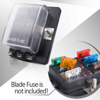 Mictuning 6 Way Terminal Circuit Car Auto Boat Blade Fuse Box Block Holder+cover