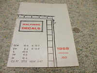 Walthers Decals Catalog 1968 50 Pages