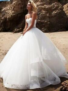 New-White-Ivory-Ruffles-Wedding-Dresses-Beach-Bridal-Gowns-With-belt-Custom-Size