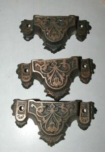 3-Fabulous-Antique-Cast-Iron-East-Lake-drawer-pull-handles-Original-Finish