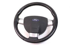 orig-Ford-Focus-II-2-Lenkrad-3-silberne-Speichen-Airbaglenkrad-Lederlenkrad-KFZ