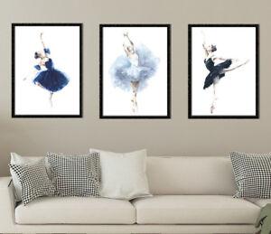 Pleasant Details About Set Of 3 Ballet Dancer Dancing Girl Living Room Wall Art Framed Glazed Artwork Download Free Architecture Designs Intelgarnamadebymaigaardcom