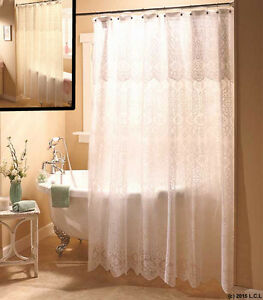 lace shower curtain w valance liner in hand white or ivory romantic fabric ebay. Black Bedroom Furniture Sets. Home Design Ideas