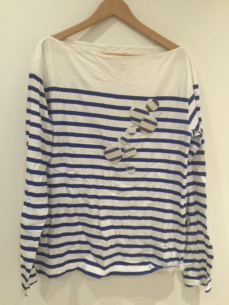 JPG Jeans Men's Cream Stripped bluee Top