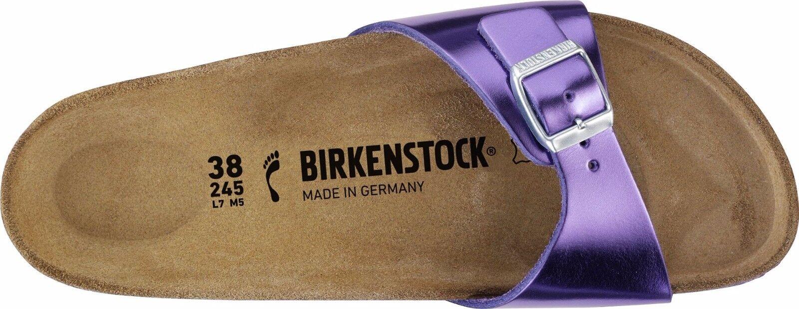 Birkenstock madrid metalizado Violet naturaleza cuero plantilla estrecho tamaño 36-42
