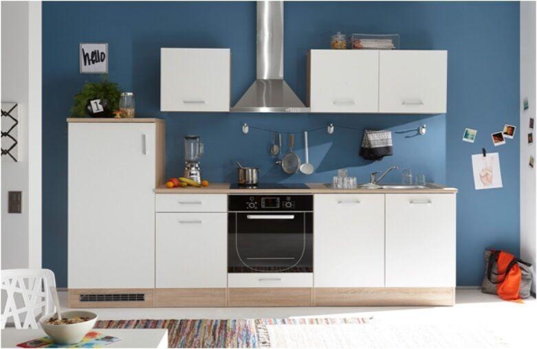Küche Welcome Andy Singleküche Küchenzeile ohne Geräte Sonoma Eiche   Weiß