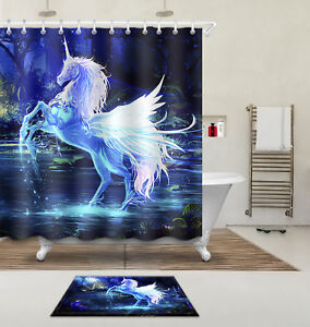 Image Is Loading Unicorn Shower Curtain Set 71 79 034 Polyester