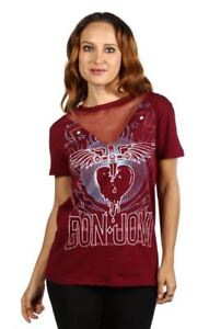 Bon-Jovi-Junior-Ladies-Burgandy-Short-Sleeve-Graphic-Rock-Music-Band-Top-Shirt