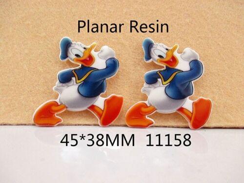 2 X 37mm Corte Láser Pato Donald Piso Nuevo Resina Diademas cabello arcos elaboración de tarjetas