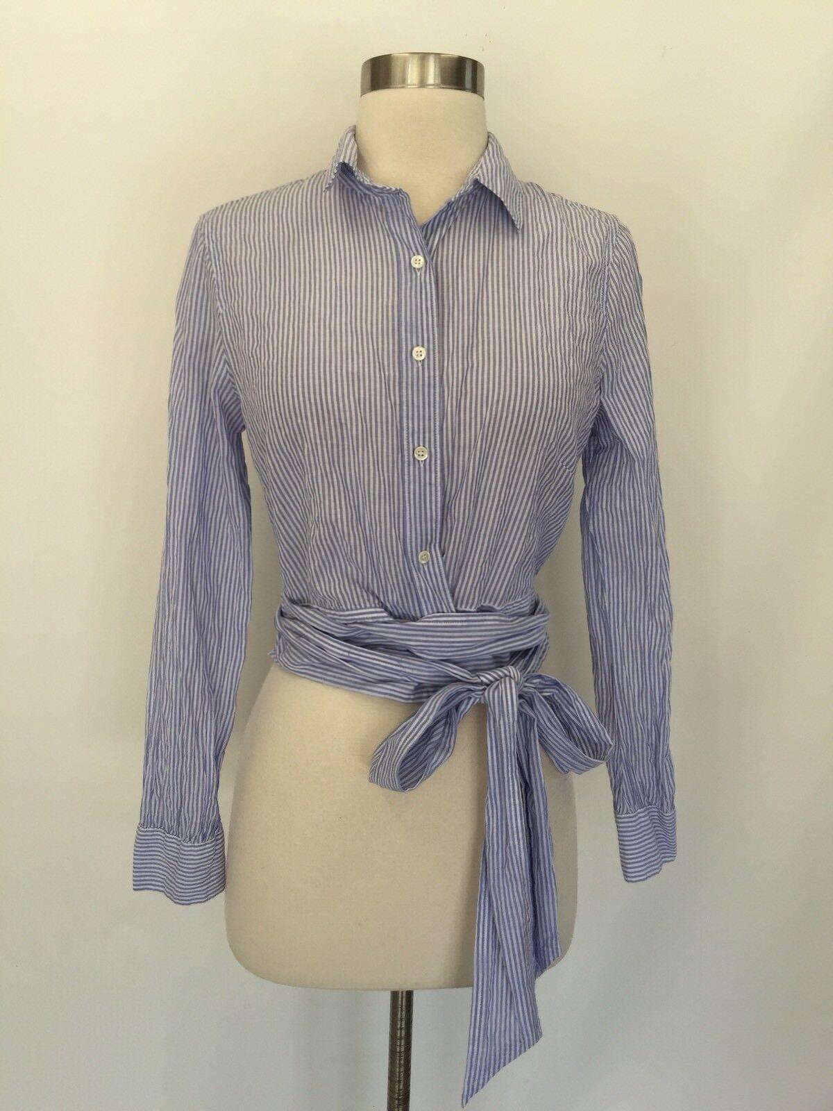 J Crew Striped Tie-Waist Top Blouse Blau Weiß Größe 2 G4004 Sold Out