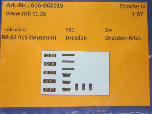 Museumslok Ep IV H0 DR Nassschiebebilder 26-teilig für BR 62 015