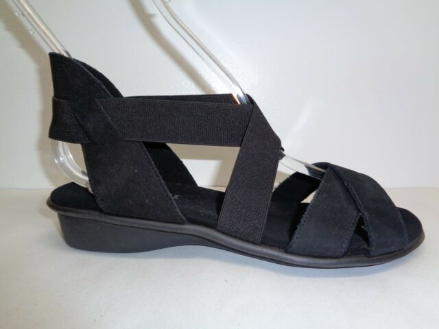 1fc9fc5a09ce Sesto Meucci Size 6 M ELLIS Black Nabuk Leather Wedge Sandals New Womens  Shoes