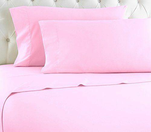 5 PCs (Split Bed Sheet Set) All Size 1000 TC 100% Pima Cotton Pink Solid