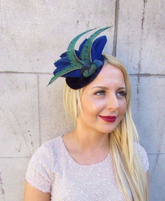Velvet Navy Royal Blue Green Peacock Statement Feather Fascinator Races Hat  2412  8a2dd35e51a