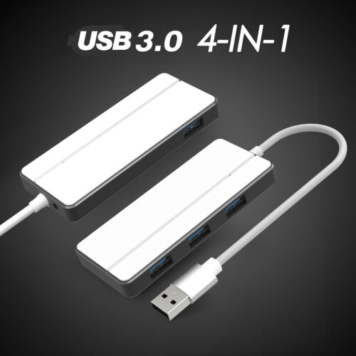 USB 3.0 Data Hub 4-Port Splitter Adapter DC Power Cable for Laptop PC Macbook