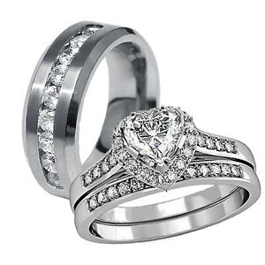 His Hers 3 Pcs Mens Womens Stainless Steel Wedding Engagement Ring Band Set