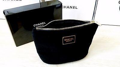 CHANEL Black Cosmetic/Makeup velvet Small Bag new in box