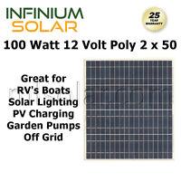 100w (2 X 50 Watt) Infinium 12v Solar Panels Rv Boat Off Grid Battery Charger A+