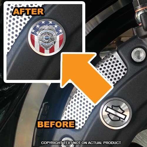 POLICE BADGE USA FLAG 154 Brembo Front Brake Caliper Insert Set For Harley