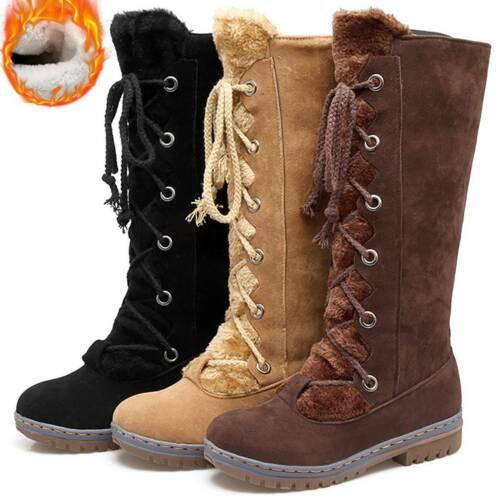 Women Fashion Lace Up High Calf Boot Combat Biker Fat Zipper Winter Shoes Size