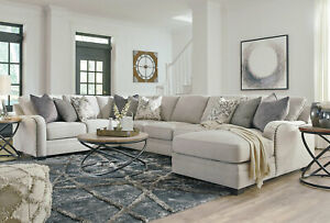 Details about NEW 5pcs Sectional Living Room Furniture - Light Gray Fabric  Sofa Couch Set IG0N