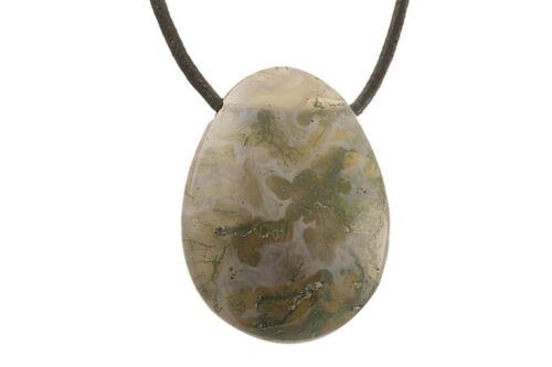 cordon en cuir pierre trouée Pendentif agate mousse