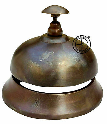 Brass Ornate Reception Bell Antique Vintage Table Calling Service Hotel Bell