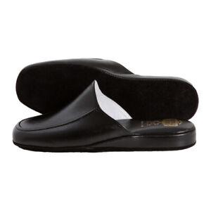 Pantofole uomo da viaggio VERA PELLE Eleganti Made in Italy Luxury colore nero