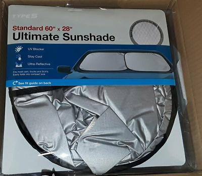 "Type S Ultimate Sunshade Standard 60""x 28"" NEW Silver"