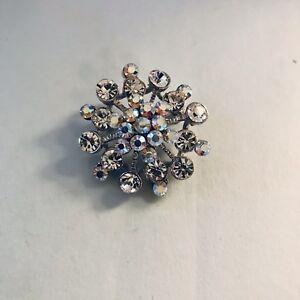 "dc62885edd Details about Vintage Small Silver Tone Starburst Rhinestone Brooch Pin 1  5/8"" J3550"
