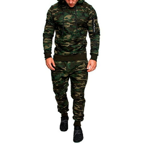 Fashion Mens Full Tracksuit Sportswear Suit Casual Camo Printed Hoodies Pants 34