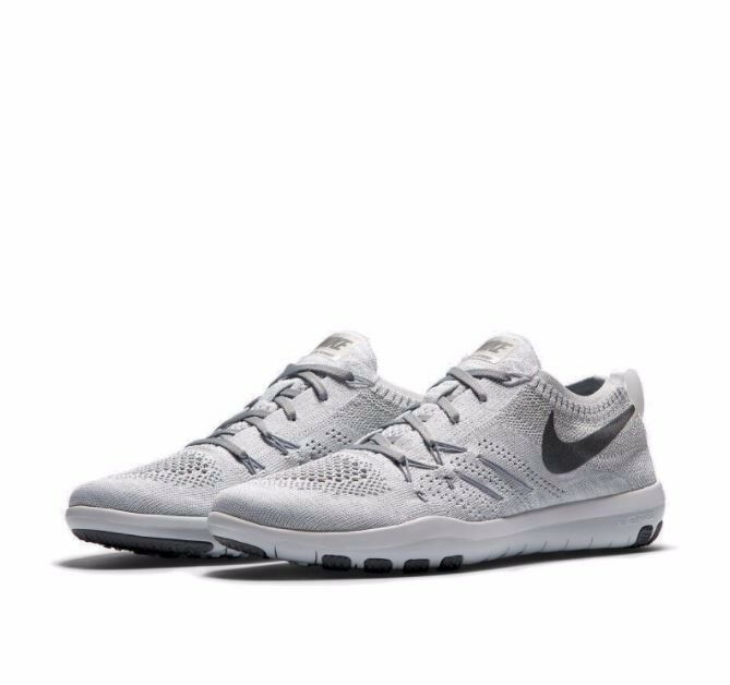Nike Free TR Focus Flyknit Running Shoes in White/Cool Grey/Silver - Size 8