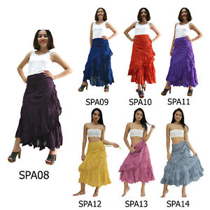 Skirt-SPA8-14-Cotton-Thai-Wrap-Long-Sarong-Tie-Waist-Gypsy-Hippie-Boho-Casual