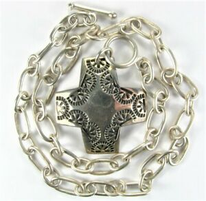 Vntg-19-034-SILPADA-Sterling-Silver-Virtuosity-Cross-Toggle-Necklace-N0557-37g-925
