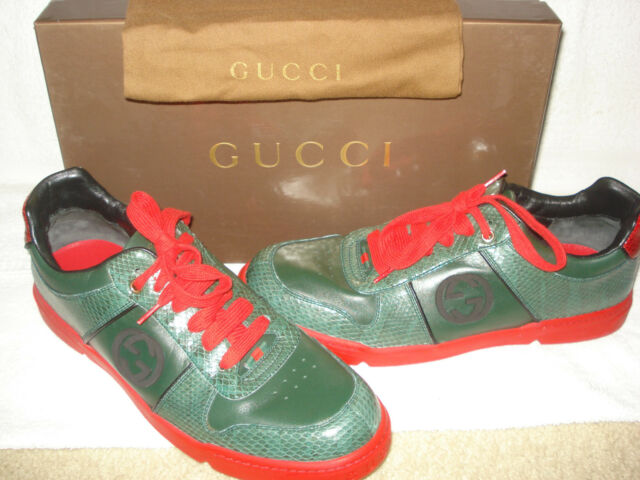 af5fe9bad630 100% AUTH NEW MEN GUCCI LIMITED EDITION SS09 SNAKE SKIN SNEAKERS 10 G  US