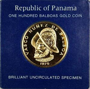 1975-Panama-100-Balboa-UNC-Gold-Coin-Vasco-Nunez-de-Balboa-Cardboard-Holder