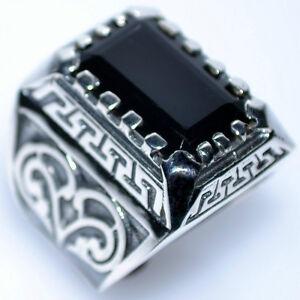 Corte-Esmeralda-de-onice-negro-solido-de-plata-esterlina-Anillos-Nuevo-925-Para-Hombre-Anillo-14gm