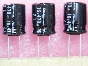 Lotto-x10-capacitor-condensatore-prodotto-chimico-16v-470-F-470uF-470MF-rubycon