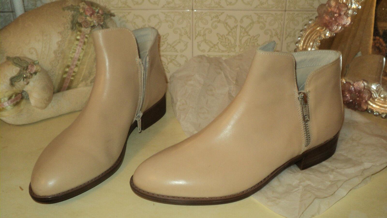 ITALIAN BATA BEIGE LEATHER ANKLE Schuhe BOOTS LOW HEELS 2 ZIPPERS EU38UK5US7.5