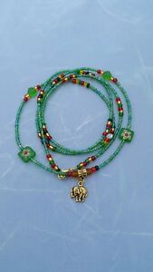 African-waist-beads-waist-beads-Green-Red-Gold-034-Christmas-Elephant-034