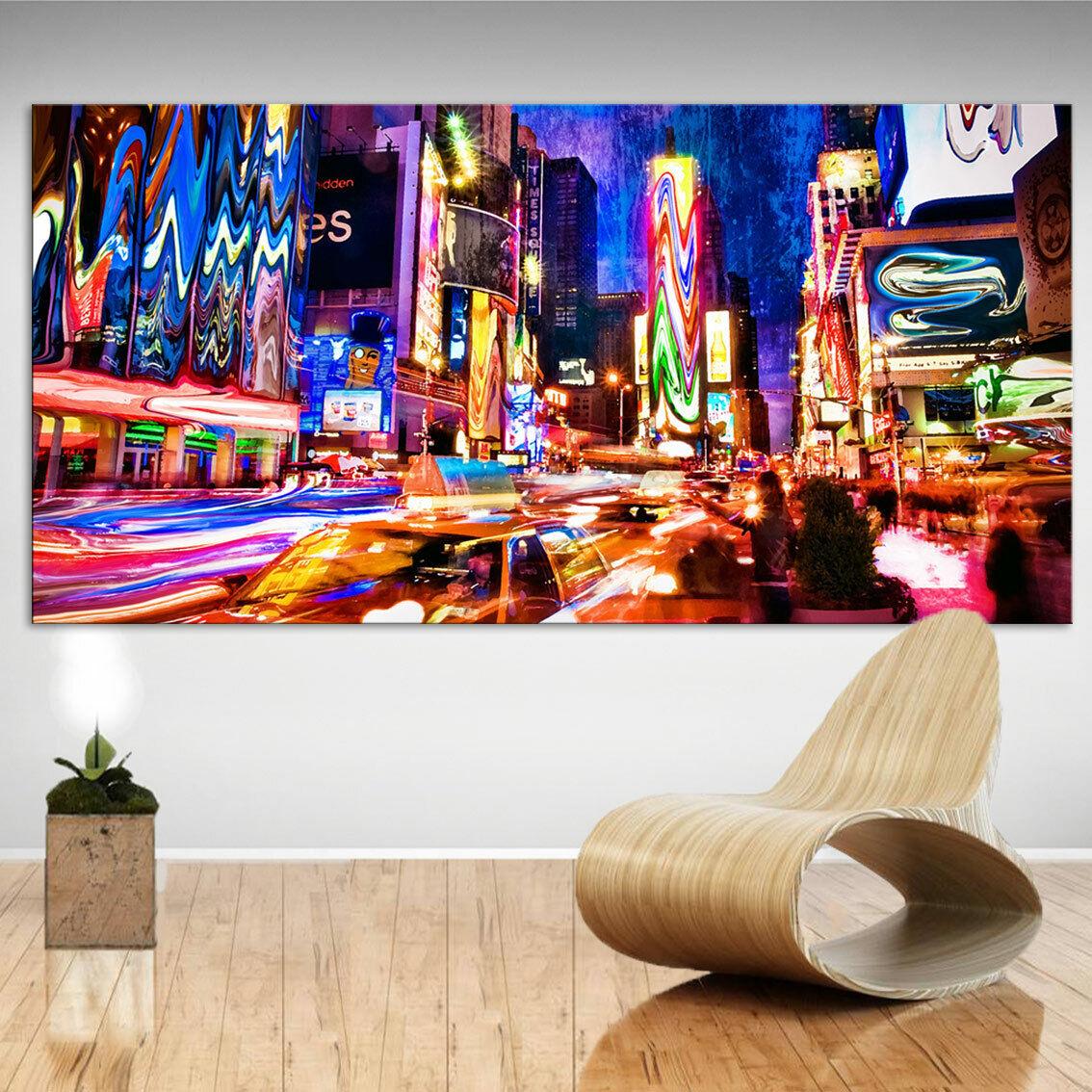Skyline New York Buntes Bild Leinwand Abstrakte Kunst Bilder Wandbilder D2075