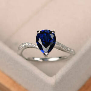 Real-14K-White-Gold-1-70-Ct-Pear-Diamond-Sapphire-Engagement-Ring-Size-5