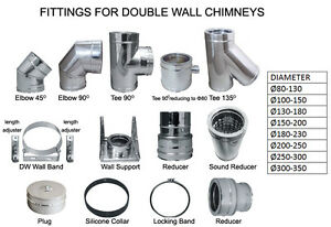 Chimney Flue Liner Reducer Double Wall Stainless Steel Pipe