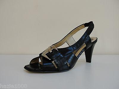FAB Peter Kaiser Faria Negro Cuero Zapatos Puntera Abierta, Reino Unido 8, RRP £ 109, BNWB