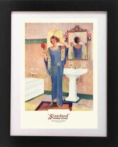 VTG 1920/'s Flapper Girl Powder Room Doll Lamp BATHROOM Sink Bath Art Deco Print