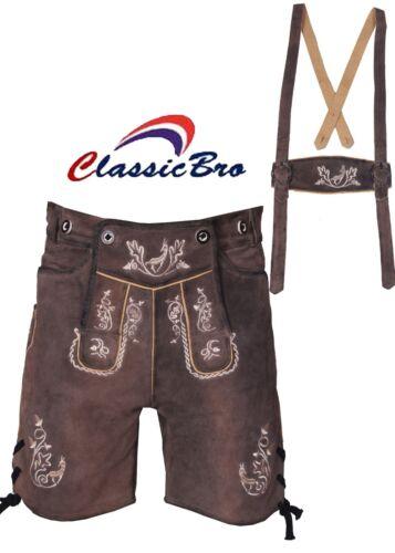 Lederhosen Oktoberfest Costume 100/% Suede Leather German Bavarian Classic Style