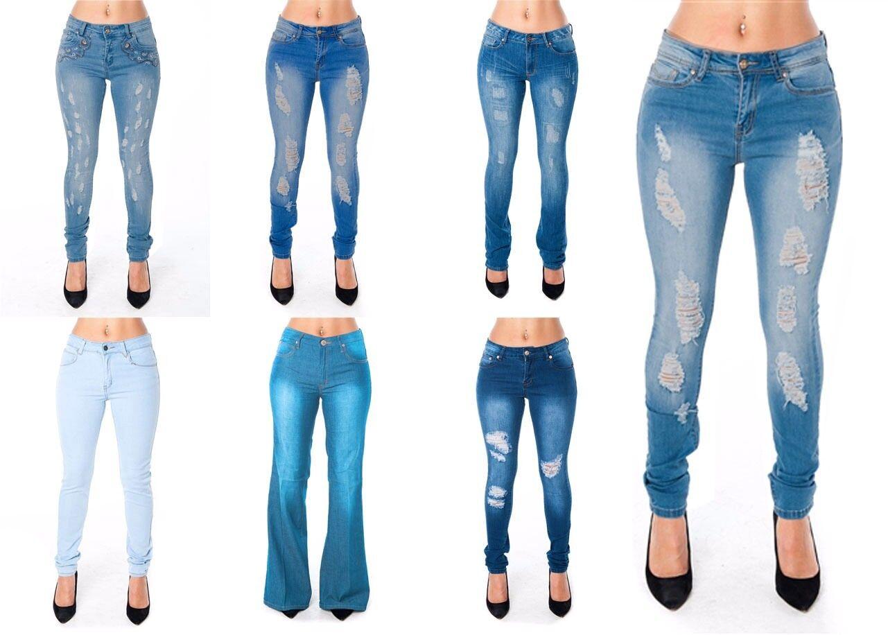 New LOT Women Ripped Skinny Distressed bluee  Denim Jeans 0 1 3 5 7 9 11 13 15